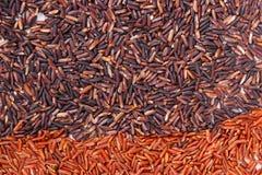 Montón del arroz negro y rojo como fondo, sano, concepto libre de la nutrición del gluten Foto de archivo