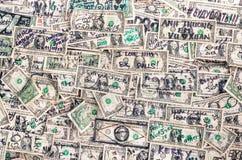 Montón del fondo de los billetes de banco de los dólares Fotografía de archivo libre de regalías