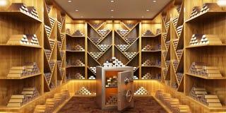 Montón del lingote de oro y de la caja de depósito seguro en sitio foto de archivo libre de regalías