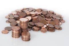Montón grande de monedas euro Fotografía de archivo libre de regalías