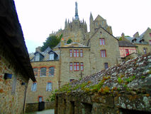 Mont圣米歇尔城堡的看法  免版税库存照片