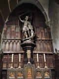 圣迈克尔雕象在修道院Mont圣米歇尔里 免版税图库摄影