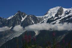 Mont-Balnc und Aiguille DU Midi Stockfotografie