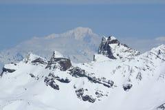 Mont Blanc, áreas do céu, panorama do Hils, Les Deux Alpes, França, francês Foto de Stock
