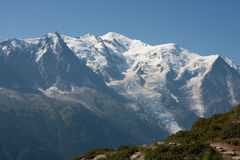 Mont Blanc. View on the Mont Blanc mountain range above Chamonix, France Royalty Free Stock Photo