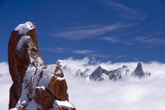 Mont Blanc. As seen form the Aguille du Midi staion in summer, showing rocks, snow and high mountain landscape Stock Photography