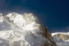 Mont Blanc. View of Mont Blanc mountain range from Aiguille Du Midi in Chamonix Stock Photos