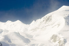 Mont Blanc. View of Mont Blanc mountain range from Aiguille Du Midi in Chamonix Stock Photo