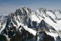 Mont Blanc. View of Mont Blanc mountain range from Aiguille Du Midi in Chamonix - landscape orientation Stock Image