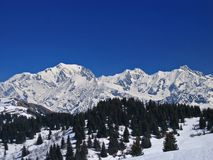 The Mont Blanc. Vie of the mont blanc from the les Saisies ski station royalty free stock photography