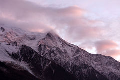 Mont blanc. View of mont blanc, in the french alps and clouds Royalty Free Stock Photo