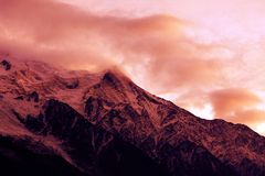 Mont blanc. View of mont blanc, in the french alps and clouds Royalty Free Stock Image