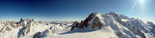 Mont Blanc from Aiguille de Midi. Mont Blanc panorama taken from the summit of Aiguille de Midi, the highest telecabine in Europe Royalty Free Stock Image