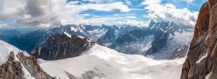Mont Blanc, Aiguille du Midi. View of the Mont Blanc from Aiguille du Midi near Chamonix in France Royalty Free Stock Image