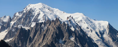 Mont Blanc and Aiguilles de Chamonix Stock Photo