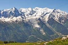 Mont Blanc, alpi, regione di Francia, Italia Fotografia Stock