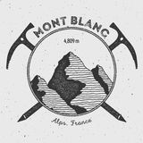 Mont Blanc in Alps, Italy outdoor adventure logo. Climbing mountain vector insignia. Climbing, trekking, hiking, mountaineering and other extreme activities Stock Photos