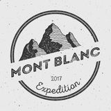 Mont Blanc in Alps, Italy outdoor adventure logo. Stock Images