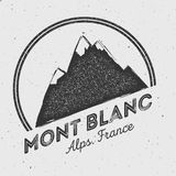 Mont Blanc in Alps, Italy outdoor adventure logo. Stock Image