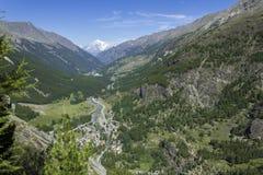 Mont Blanc-Ansicht von Lillaz Stockbild