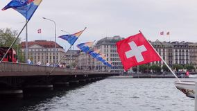 Mont Blanc Bridge with flags of all Switzerland cantons