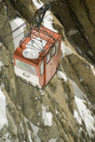 Mont Blanc Cable Car. View of cable car from Aiguille Du Midi in Chamonix - portrait orientation Stock Image