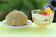 Mont blanc cake and Mix fruit tart Royalty Free Stock Image
