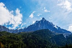 Mont Blanc from Chamonix Royalty Free Stock Photography