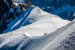 Mont Blanc, Chamonix, French Alps. France. - tourists climbing u Stock Image
