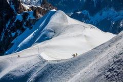 Mont Blanc, Chamonix, French Alps. France. - tourists climbing u Stock Image