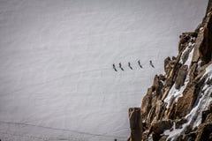Mont Blanc, Chamonix, French Alps. France. - tourists climbing u Royalty Free Stock Photography