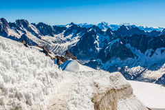Mont Blanc, Chamonix, French Alps. France. - tourists climbing u Stock Photography