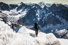 Mont Blanc, Chamonix, French Alps. France. - tourists climbing u Royalty Free Stock Image