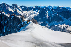 Mont Blanc, Chamonix, French Alps. France. - tourists climbing u Stock Images