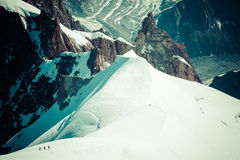 Mont Blanc, Chamonix, French Alps. France. - tourists climbing u Royalty Free Stock Images