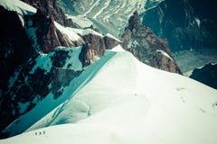 Mont Blanc, Chamonix, French Alps. France. - tourists climbing u Royalty Free Stock Images