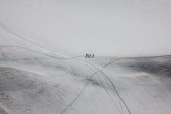 Mont Blanc, Chamonix, French Alps. France. - tourists climbing u Royalty Free Stock Photos