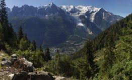 Mont Blanc and Chamonix needles Royalty Free Stock Images