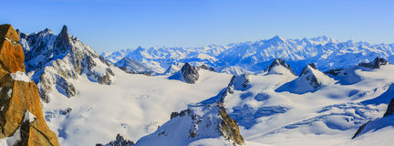 Mont Blanc and Chamonix, view from Aiguille du Midi Stock Photo