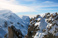 Mont Blanc with Climbers on Ridge Royalty Free Stock Photos