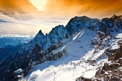 Mont Blanc, Courmayeur, helcopter Image stock