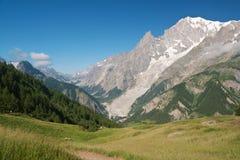Mont Blanc dalla valle del furetto Immagini Stock