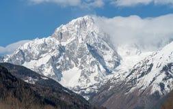 Mont Blanc de Courmayeur Fronte sudorientale massiccio della montagna Immagini Stock