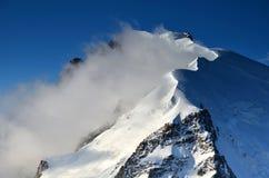 Mont Blanc du Tacul nos alpes, France Imagens de Stock