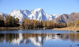 Mont Blanc durante la stagione di caduta Fotografia Stock Libera da Diritti