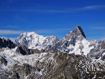 Mont Blanc e Grandes Jorasses Fotografie Stock Libere da Diritti