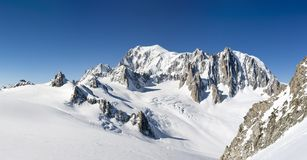 Mont Blanc, east face. Extra-large panorama of Mont Blanc Massif. Peaks and glaciers in a sunny winter day. From left the italian border with Pointe Helbronner stock image