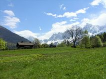 Mont Blanc en Les Houches, Francia Foto de archivo libre de regalías