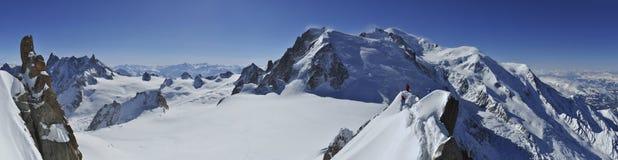 Mont Blanc en Vallée Blanche Royalty-vrije Stock Fotografie