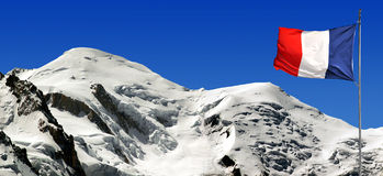 Mont Blanc-France. View of the mountains Mont Blanc with France flag-France Stock Images